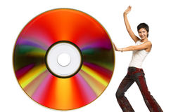 Woman with cd. Young woman with cd . Isolated over white Stock Photo