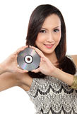 Woman with CD Stock Photo