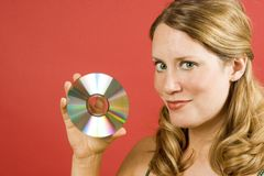 Woman With CD Stock Image