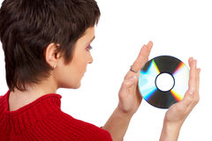 Woman and cd royalty free stock photo