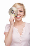 Woman with CD disk. Royalty Free Stock Photos