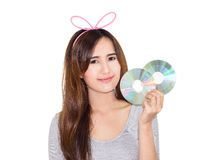 Woman with CD Royalty Free Stock Images