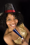 A woman celebrates new years eve Royalty Free Stock Photography