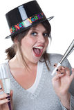 Woman celebrates New Years; isolated Royalty Free Stock Images