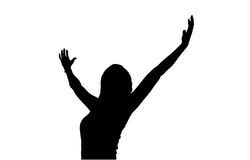 Woman Celebrates Winning Attitude Arms Outstretched Reaching Upw Royalty Free Stock Photography