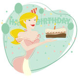 Woman celebrating birthday Stock Photos