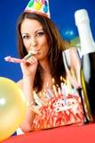 Woman celebrating birthday Royalty Free Stock Image