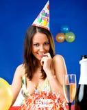 Woman celebrating birthday Royalty Free Stock Photography