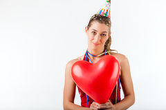 Woman celebrating birthday or valentines day Stock Photos