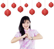 Woman Celebrating Chinese New Year Royalty Free Stock Photo