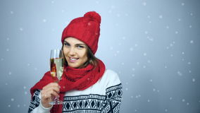 Woman celebrating Christmas or New Year with glass of champagn stock footage