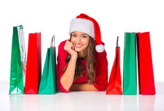 Woman celebrating Christmas Royalty Free Stock Photo