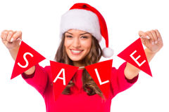 Woman celebrating Christmas Stock Photography