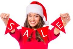 Woman celebrating Christmas Stock Photography