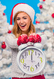 Woman celebrating Christmas Stock Photos