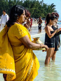 Woman celebrating Ganesh Chaturthi. On the coast of Indian Ocean in Mauritius Stock Images