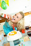 Woman Celebrating Her Birthday Stock Images