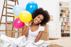 Woman Celebrating Her Move To A New House Stock Images
