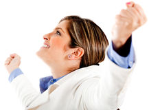 Woman celebrating her victory Royalty Free Stock Photos