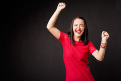 Woman celebrating her victory Stock Images