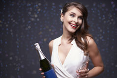 Woman celebrating New Year`s Eve Stock Photo