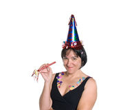 Woman celebrating at a party Stock Images