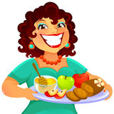 Woman celebrating Rosh Hashanah. Cheerful woman carrying foods for Rosh Hashanah Royalty Free Stock Photography