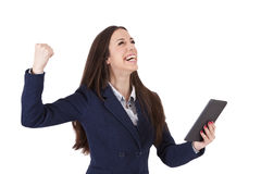 Woman celebrating success Stock Photography