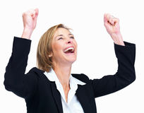 Woman celebrating success over white backgroun Stock Images