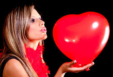 Woman celebrating Valentines Day Royalty Free Stock Photos