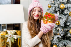 Woman celebrating winter holidays Royalty Free Stock Images
