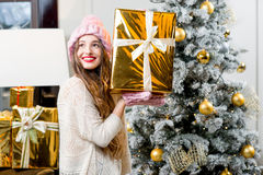Woman celebrating winter holidays Stock Images