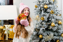 Woman celebrating winter holidays Stock Photography