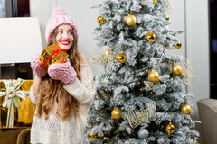 Woman celebrating winter holidays Stock Photos