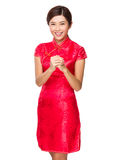 Woman celebration for chinese new year. Isolated on white background