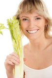 Woman with celery Stock Photos
