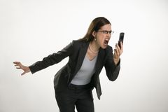 Woman on cell Royalty Free Stock Images