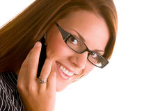 Woman with Cell Phone. Young business woman with cell phone Royalty Free Stock Image