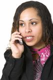 Woman with cell phone. Afro-American woman talking on a cell phone Stock Image