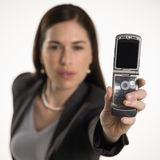Woman and cell phone. Stock Images