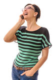 Woman on Cell Phone Laughing Stock Photos
