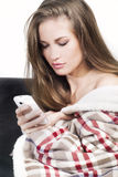 Woman with cell phone Royalty Free Stock Image