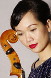 Woman and cello. Portrait of woman and cello Stock Photography