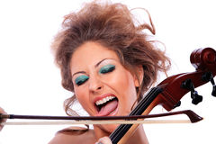 Woman with a cello Royalty Free Stock Image