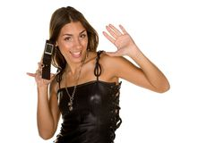Woman and Cellphone Royalty Free Stock Photography