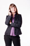 Woman and cellphone. Royalty Free Stock Images