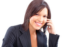 Woman with cellular Stock Photography