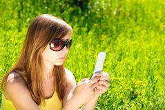 Woman with cellular Stock Photo