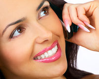 Woman with cellular. Attractive young woman calling by cellular phone Stock Photos