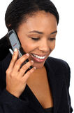 Woman with cellular. Attractive business young woman calling by cellular phone Royalty Free Stock Photos